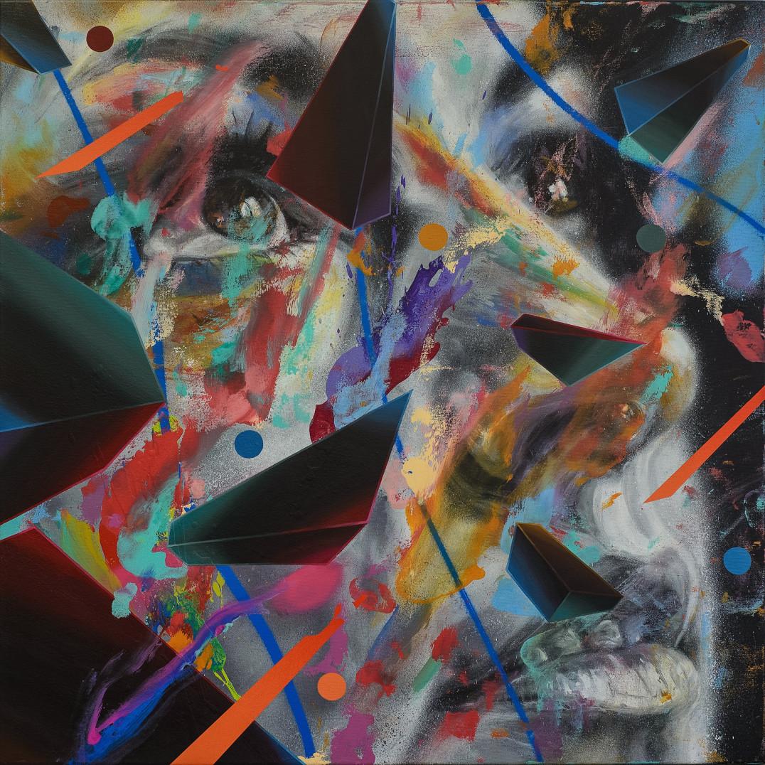David Walker  Shadow Play, 2017  Aerosol and Acrylic on Canvas  90cm x 90cm  Signed, Original