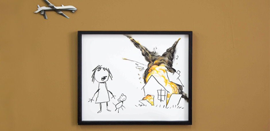 Civilian Drone Strike by Banksy Exhibited in 'Art The Arms Fair'