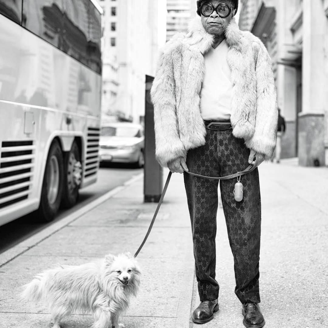 PHIL PENMAN, Man and his dog on Madison Avenue,, New York, 2015