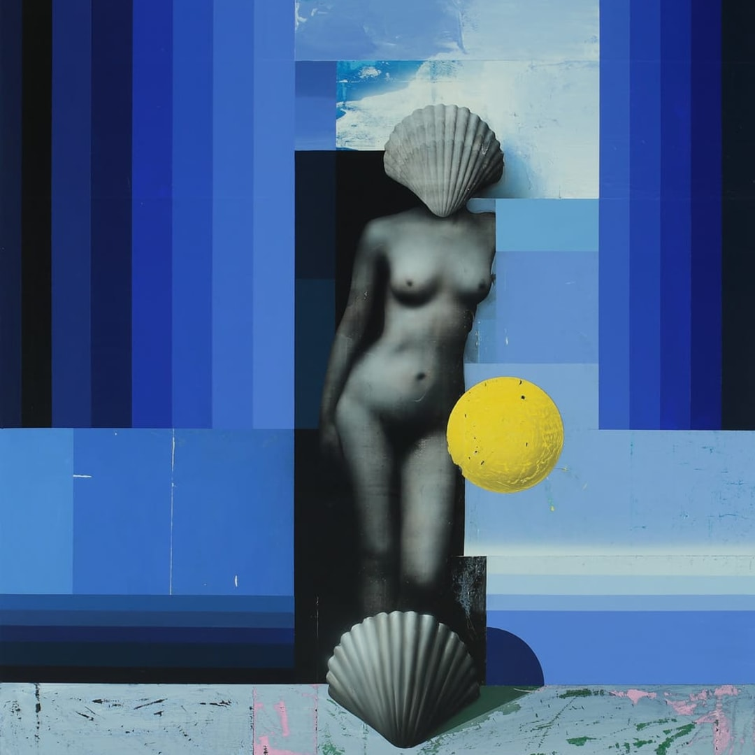 Mircea Suciu, 'Venus', 2021, Oil, Acrylic, Monotype and varnish on linen, 115 x 95 x 5 cm, © Mircea Suciu, Courtesy of Pulpo Gallery