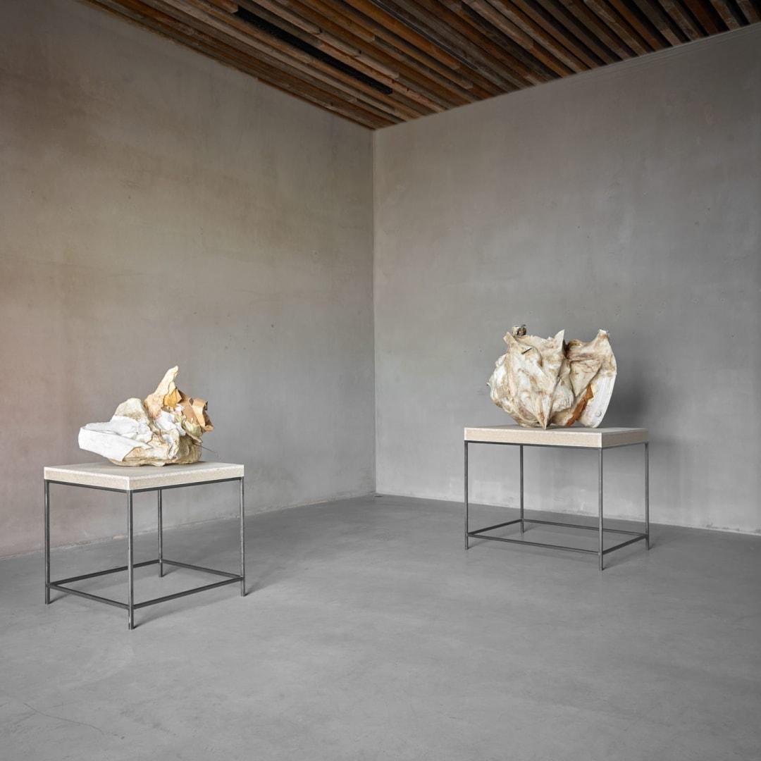 Left: Peter Buggenhout (°Dendermonde, 1963), 'Mont Ventoux #17', Mixed media, 61 x 78 x 69 cm, © Peter Buggenhout, Courtesy of Axel Vervoordt Gallery Right: 'Mont Ventoux #6.1', 2010-2014, 85 x 78 x 84 cm, © Peter Buggenhout, Courtesy of Axel Vervoordt Gallery
