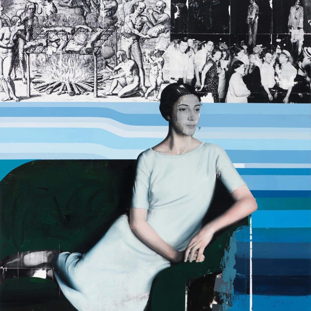 Mircea Suciu, 'Humanity (homage to Meredith Frampton), 2018, Oil, acrylic and monoprint on linen, 180.3 x 154.9 cm, © Mircea Suciu, image courtesy of CFHILL Art Space