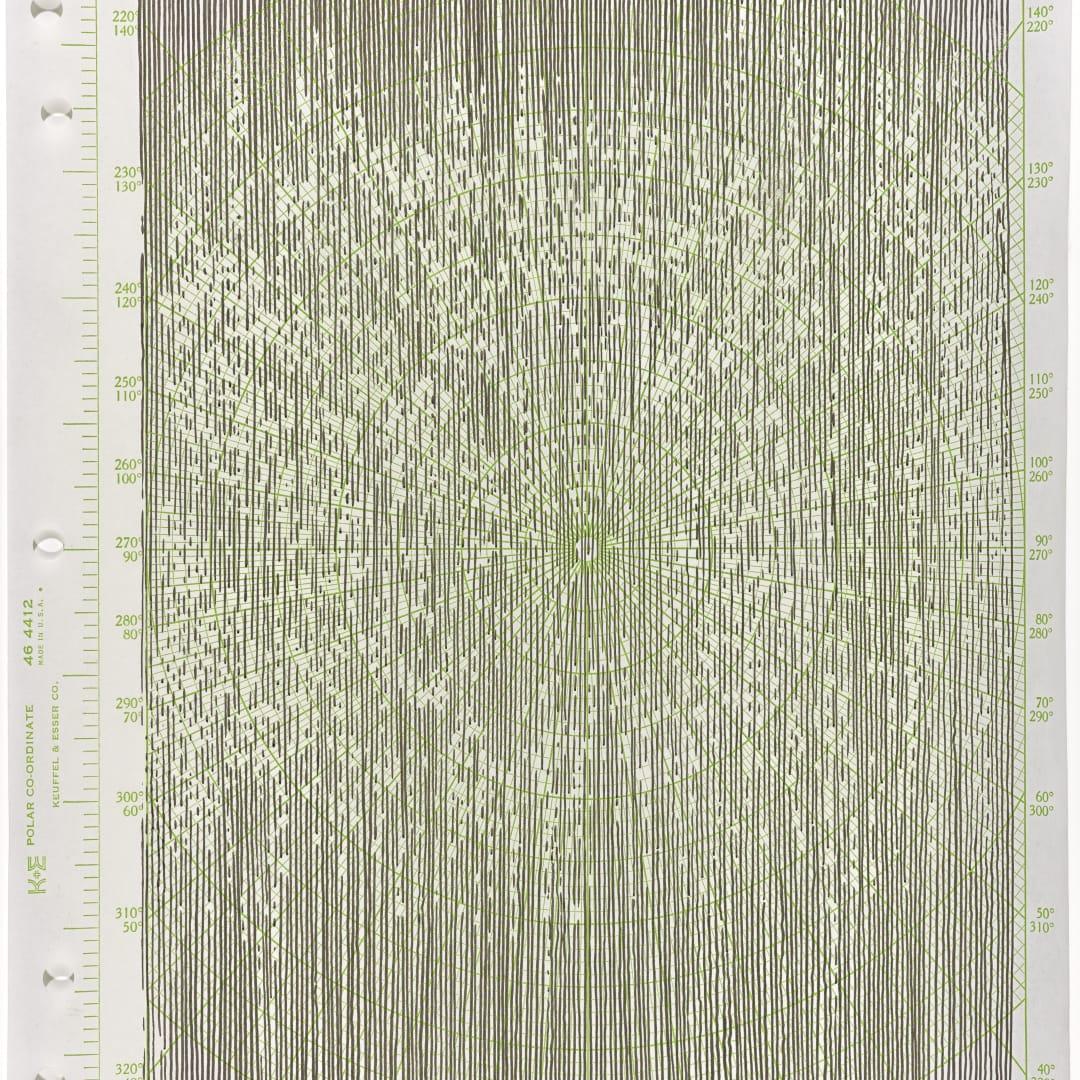 Linn Meyers, 'Untitled', 2019, Ink on graph paper, 11 x 8.5 in, © Linn Meyers