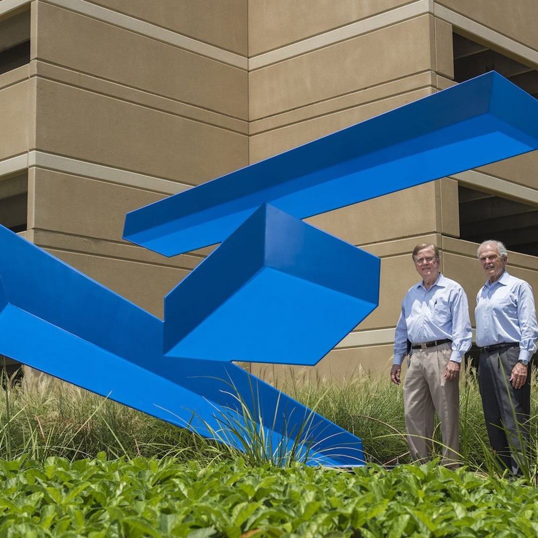 Robert Heineman (left), Vice President of Planning, and Peter Doyle (right), Executive Vice President of Strategic Development, both with The Howard Hughes Corporation, have orchestrated selections of the various sculpture pieces for Hughes Landing with the assistance of Kinzelman Art Consulting.
