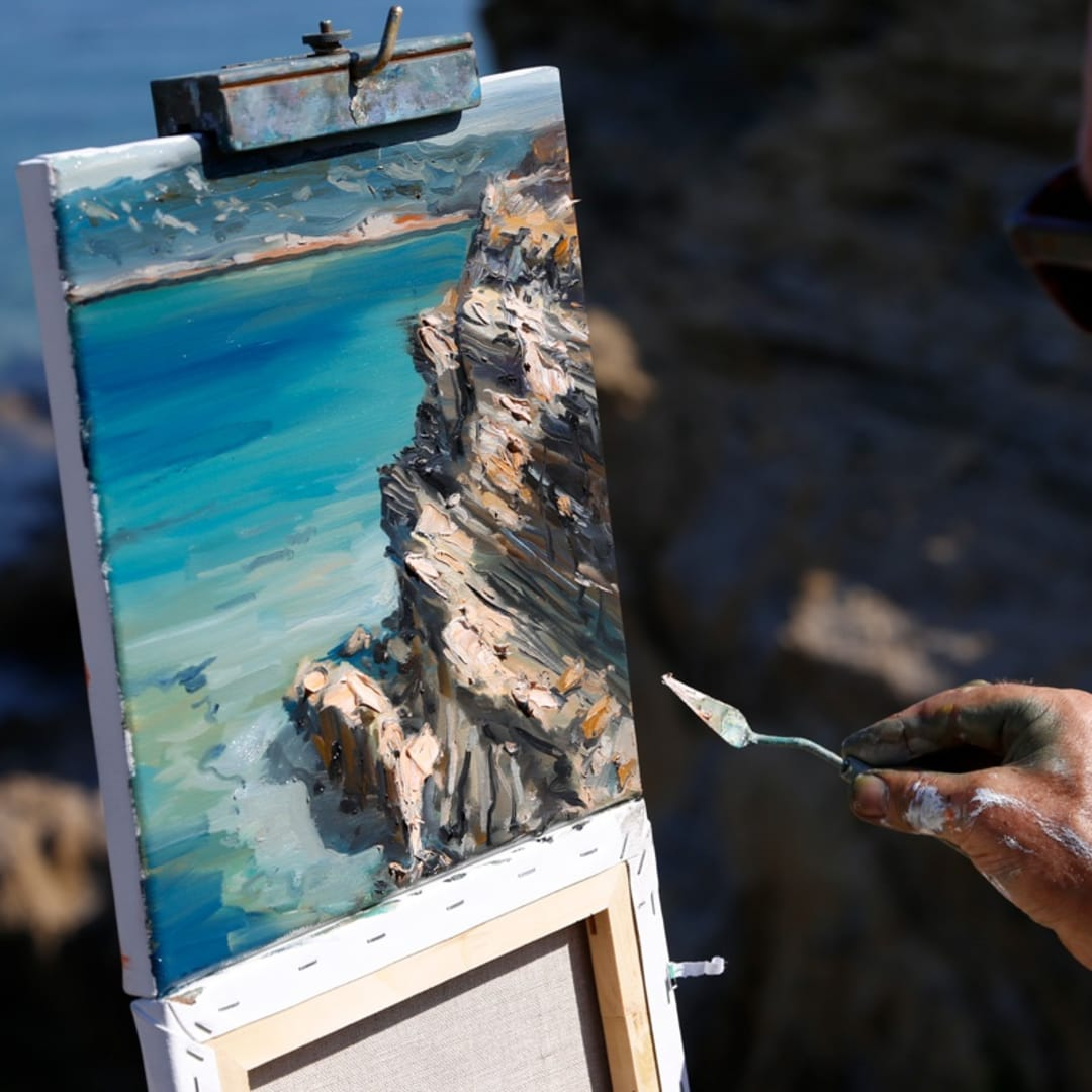 Gerard Byrne plein air painting 'Croatian Sandstone Rocks I' Lopar peninsula Rab island Croatia photo credit Agata Byrne