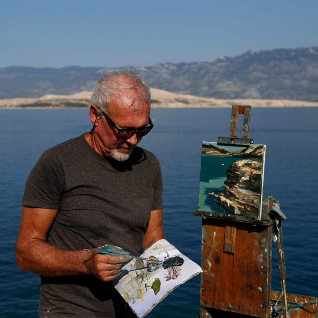 Gerard Byrne plein air painting 'Croatian Sandstone Rocks II' Lopar peninsula Rab island Croatia photo credit Agata Byrne