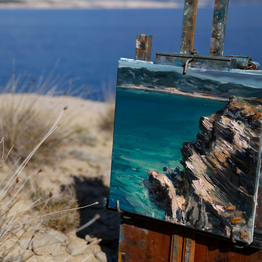 Gerard Byrne plein air painting 'Croatian Sandstone Rocks II' Lopar peninsula Rab island Croatia photo credit Agata Byrne