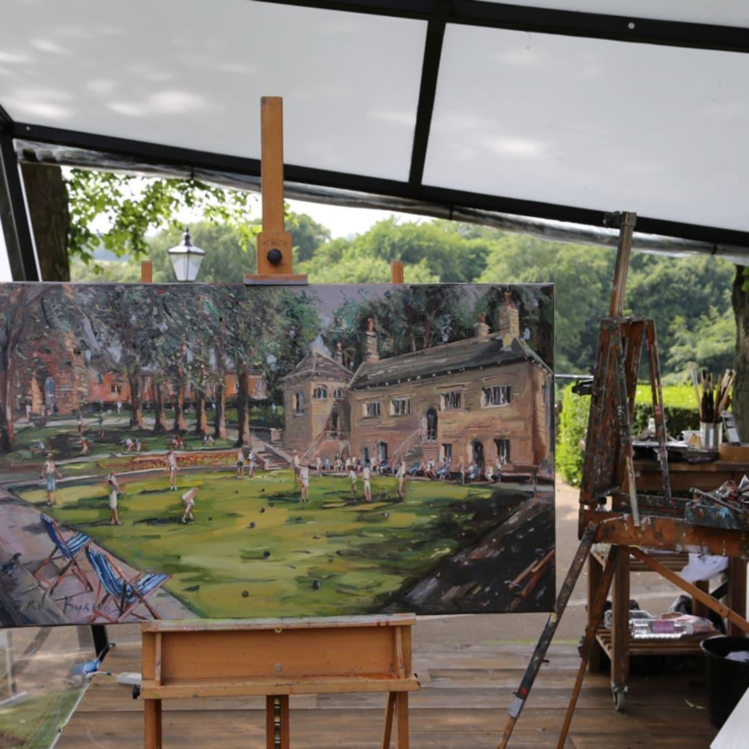 Gerard Byrne's plein air painting 'Knaresborough Life' Sky Arts Landscape Artist of the Year 2017 Yorkshire UK photo credit Agata...
