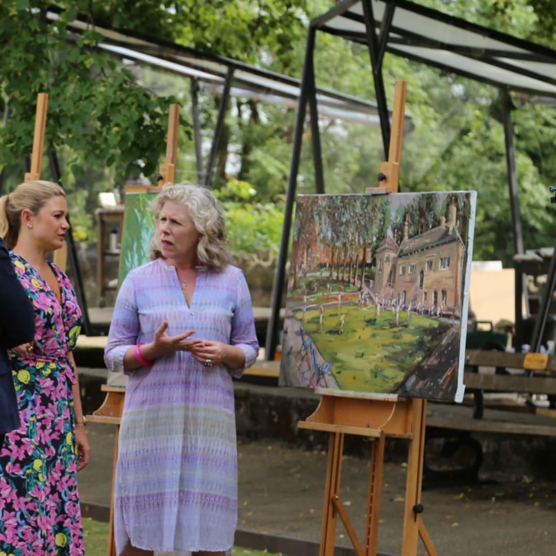 The Judges Tai Shan Schierenberg, Kate Bryan, Kathleen Soriano critiquing Gerard Byrne's plein air painting 'Knaresborough Life' Sky Arts Landscape...