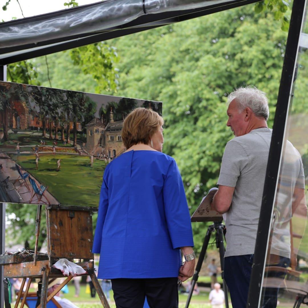 Gerard Byrne with Sky Arts Landscape Artist of the Year 2017 presenter Joan Bakewell Knaresborough Castle Bowling Green Yorkshire UK...