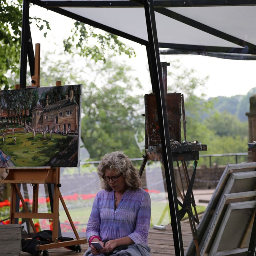 Kathleen Soriano with Gerard Byrne's plein air painting 'Knaresborough Life' Sky Arts Landscape Artist of the Year 2017 Yorkshire UK...