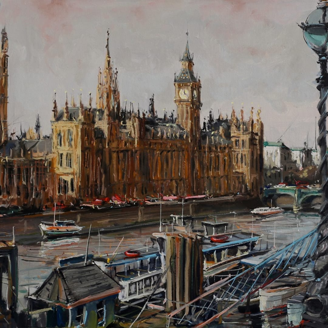 Westminster Boats' oil on canvas 50x50 cm