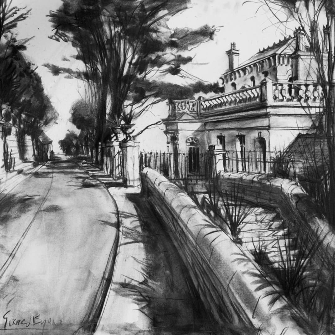 Shadows at Vico Road' charcoal sketch on canvas by Gerard Byrne, 2013