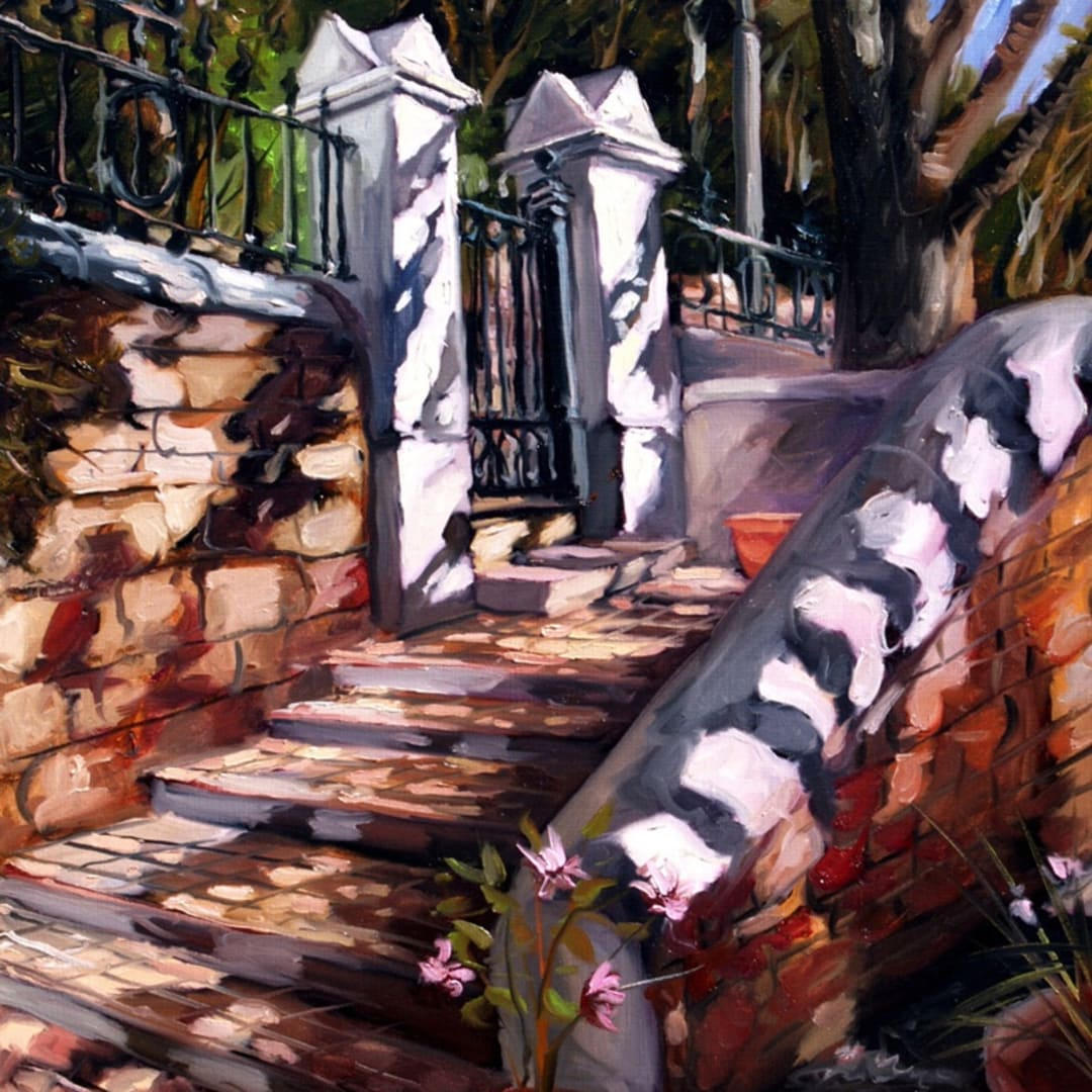 'Strawberry Hill Steps' oil on canvas by Gerard Byrne, 2004