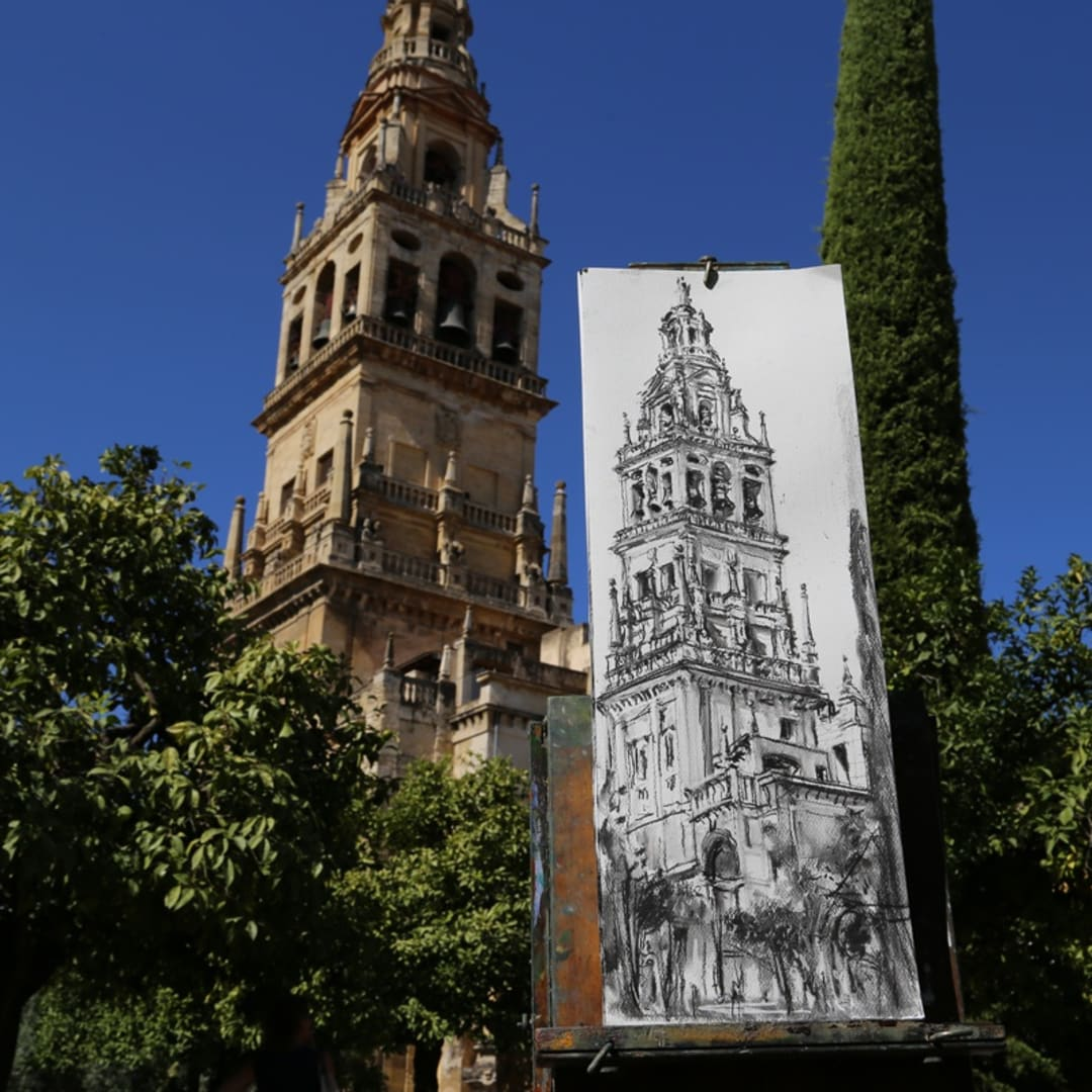 Plein air charcoal sketch by Gerard Byrne, Patio de Naranjos, Cordoba Mosque Cathedral, Spain