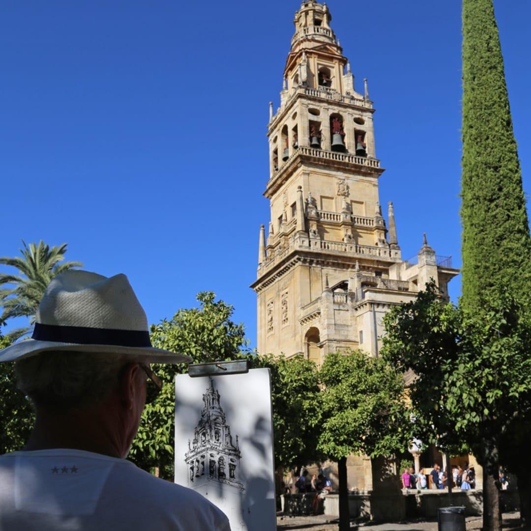 Gerard Byrne sketching plein air Patio de Naranjos, Cordoba Mosque Cathedral, Spain