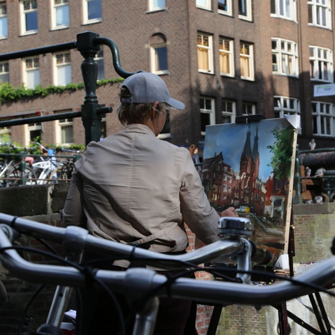 Anna Filimonova painting plein air Pintar Rapido Amsterdam, September 2016