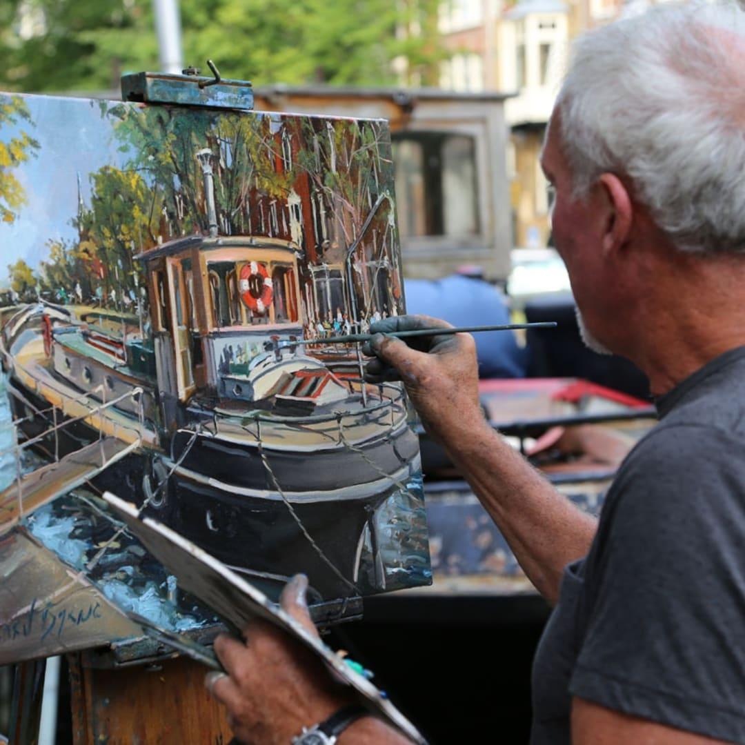 Gerard Byrne painting plein air Pintar Rapido Amsterdam, September 2016