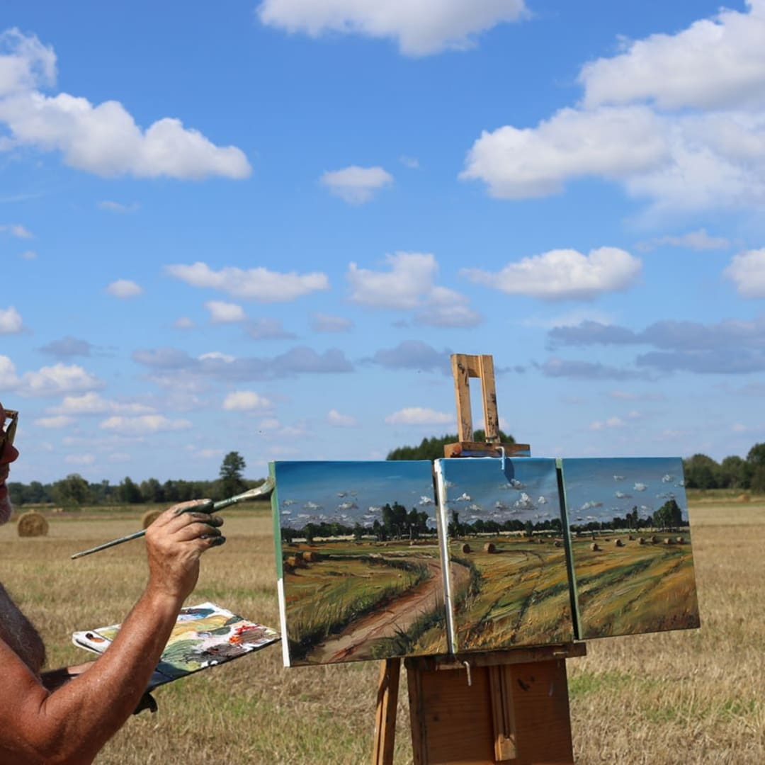 Gerard Byrne painting plein air Polish Provence, August 2016