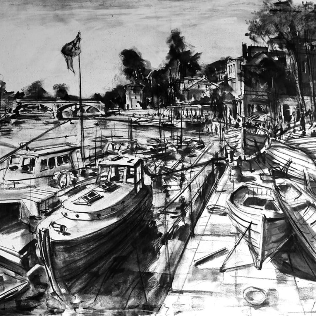 'Boats at Richmond' plein air charcoal sketch by Gerard Byrne