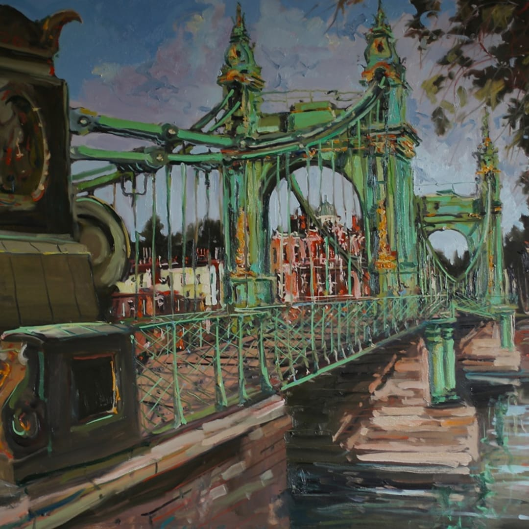 'Hammersmith Bridge' plein air painting by Gerard Byrne