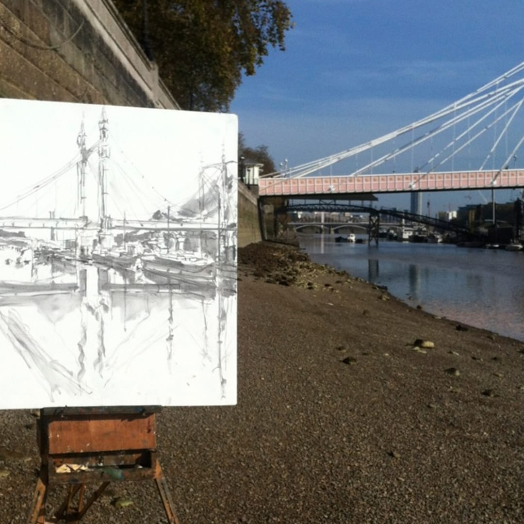 'Albert Bridge' plein air charcoal sketch by Gerard Byrne