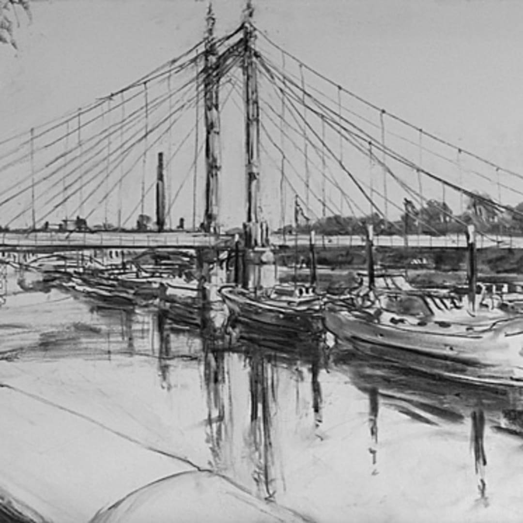 'River Thames' plein air charcoal sketch by Gerard Byrne