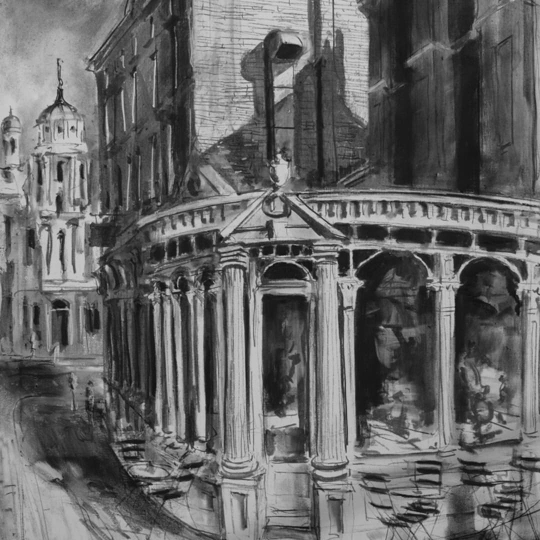 'Kolossi Grill' plein air charcoal sketch by Gerard Byrne