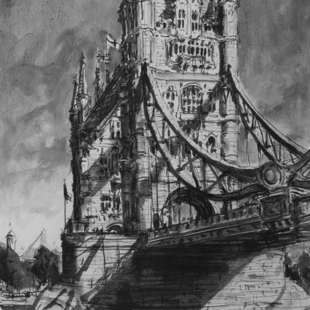 'Tower Bridge' plein air charcoal sketch by Gerard Byrne