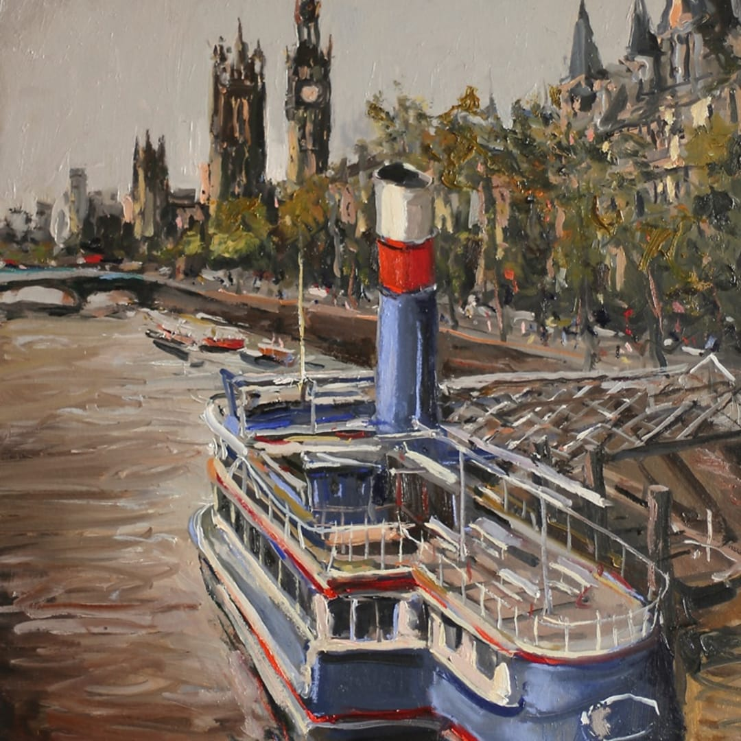 'Steam Boat' plein air painting by Gerard Byrne