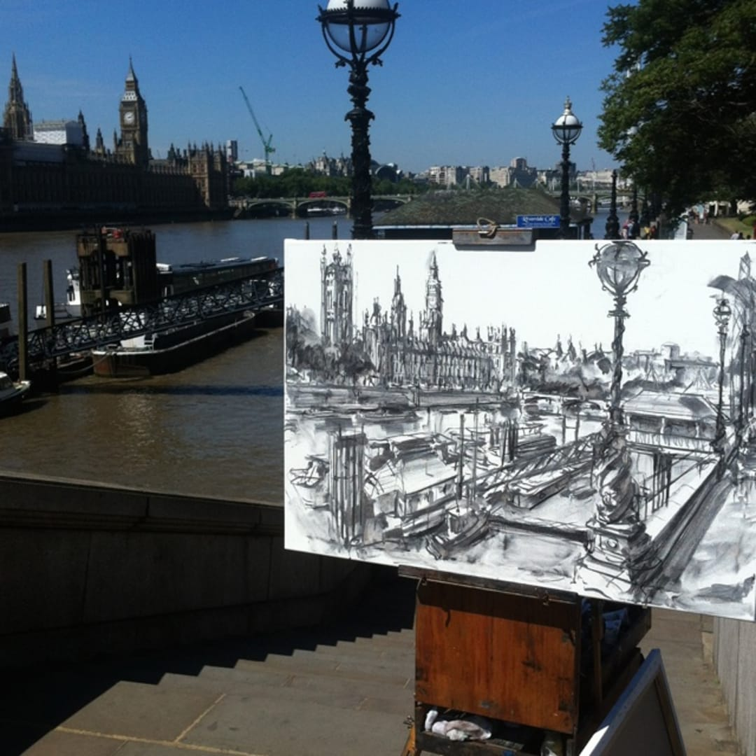 'Palace of Westminster' plein air charcoal sketch by Gerard Byrne