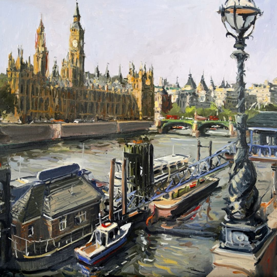 'Palace of Westminster' plein air painting by Gerard Byrne