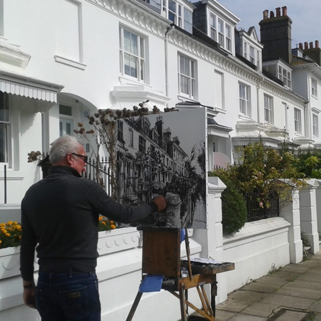 Gerard Byrne painting plein air at Clifton Terrace, Brighton