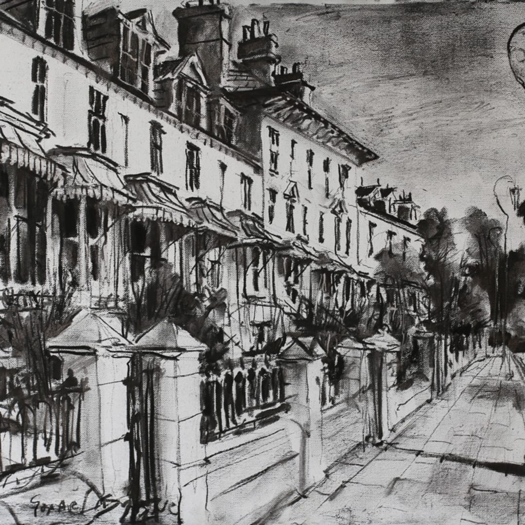 Clifton Terrace' plein air charcoal sketch by Gerard Byrne, Clifton Terrace, Brighton