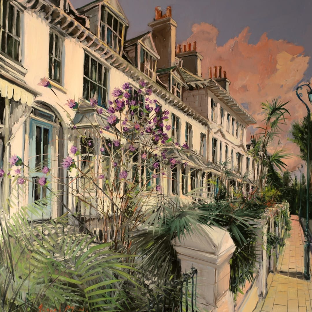 'Sunset at Clifton Terrace' plein air painting by Gerard Byrne, Clifton Terrace, Brighton