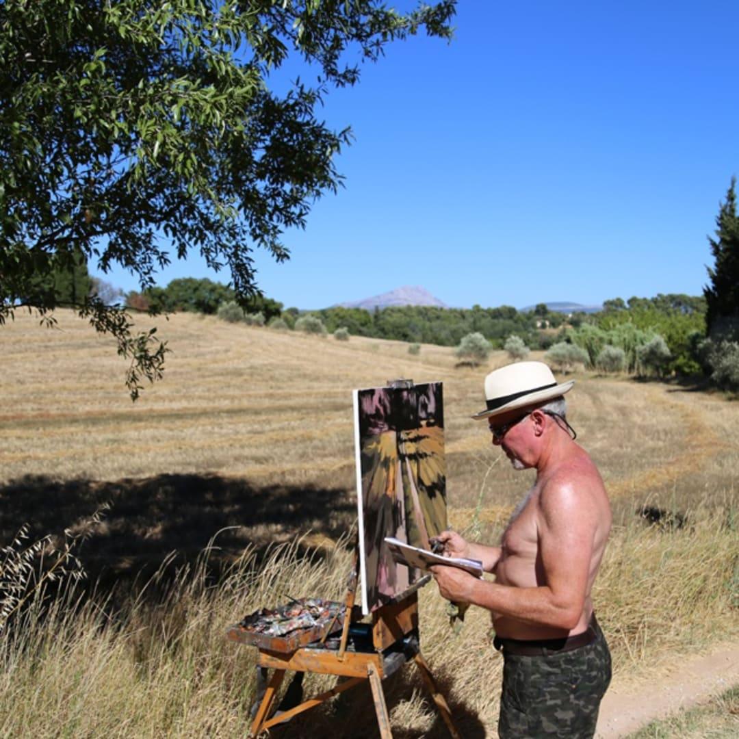 Gerard Byrne painting plein air 'Valcros Wheat Fields'