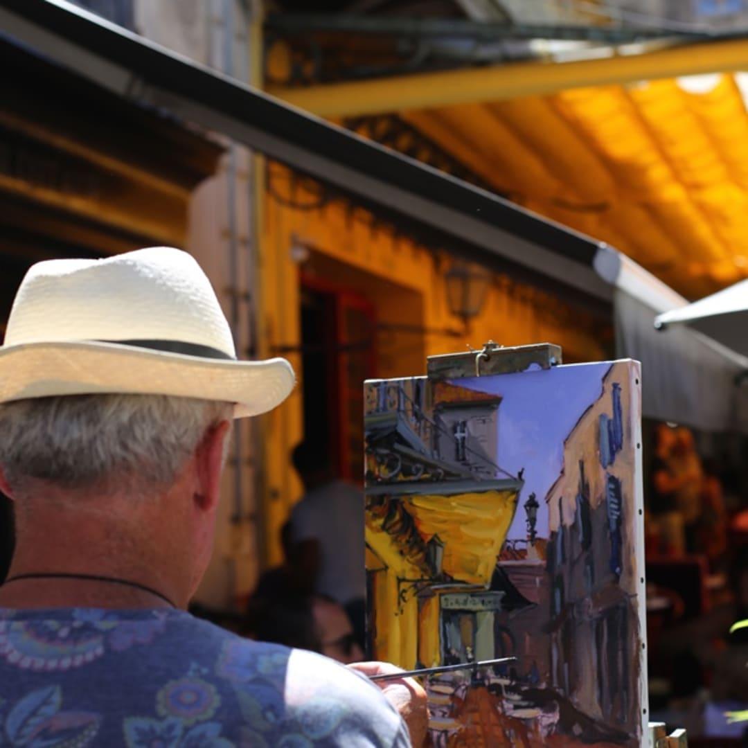 Gerard Byrne painting plein air 'The Cafe Terrace'