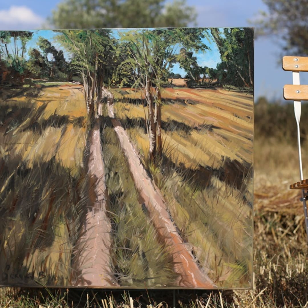 'Valcros Wheat Fields' plein air painting by Gerard Byrne