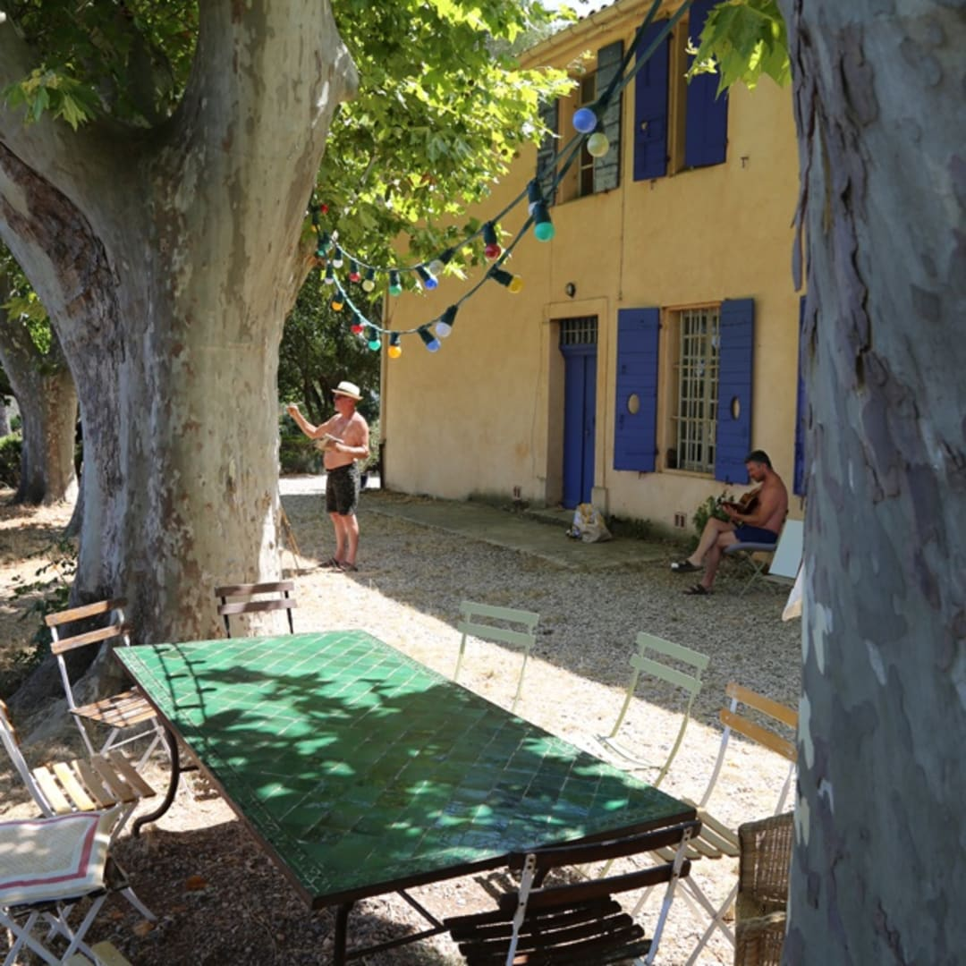 Gerard Byrne painting plein air 'The Cypress Road