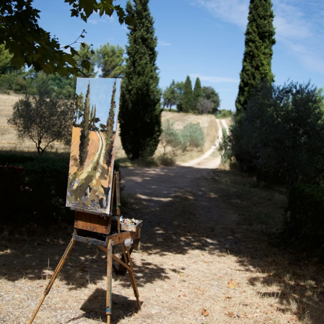 The Cypress Road' plein air painting by Gerard Byrne