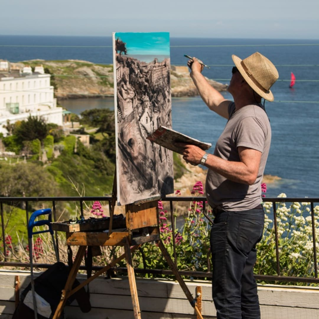 Gerard Byrne painting plein air 'Sorrento Terrace' Dalkey, photo Colm Murphy