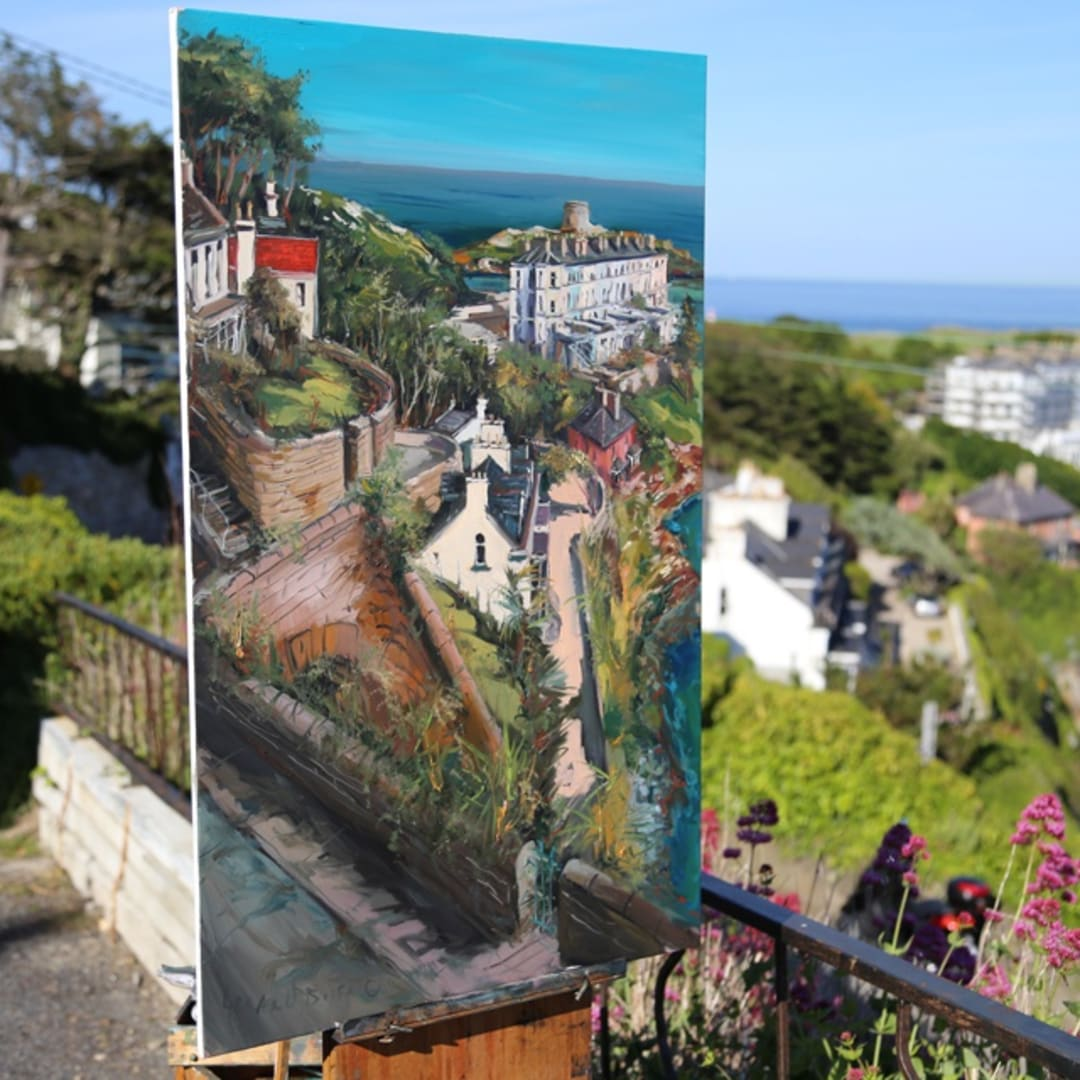 'Sorrento Terrace' plein air painting by Gerard Byrne, photo Colm Murphy