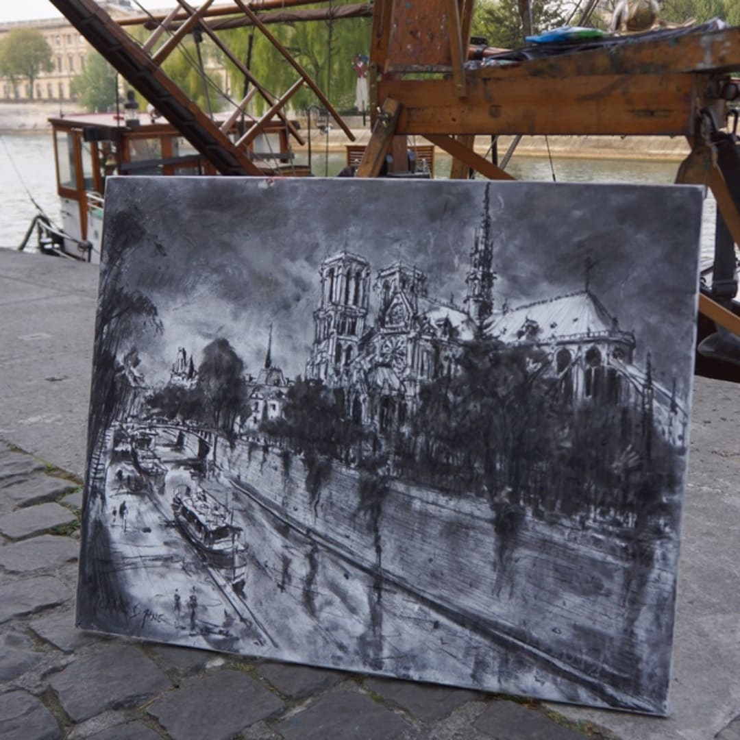 'Notre Dame' plein air charcoal drawing by Gerard Byrne, Paris