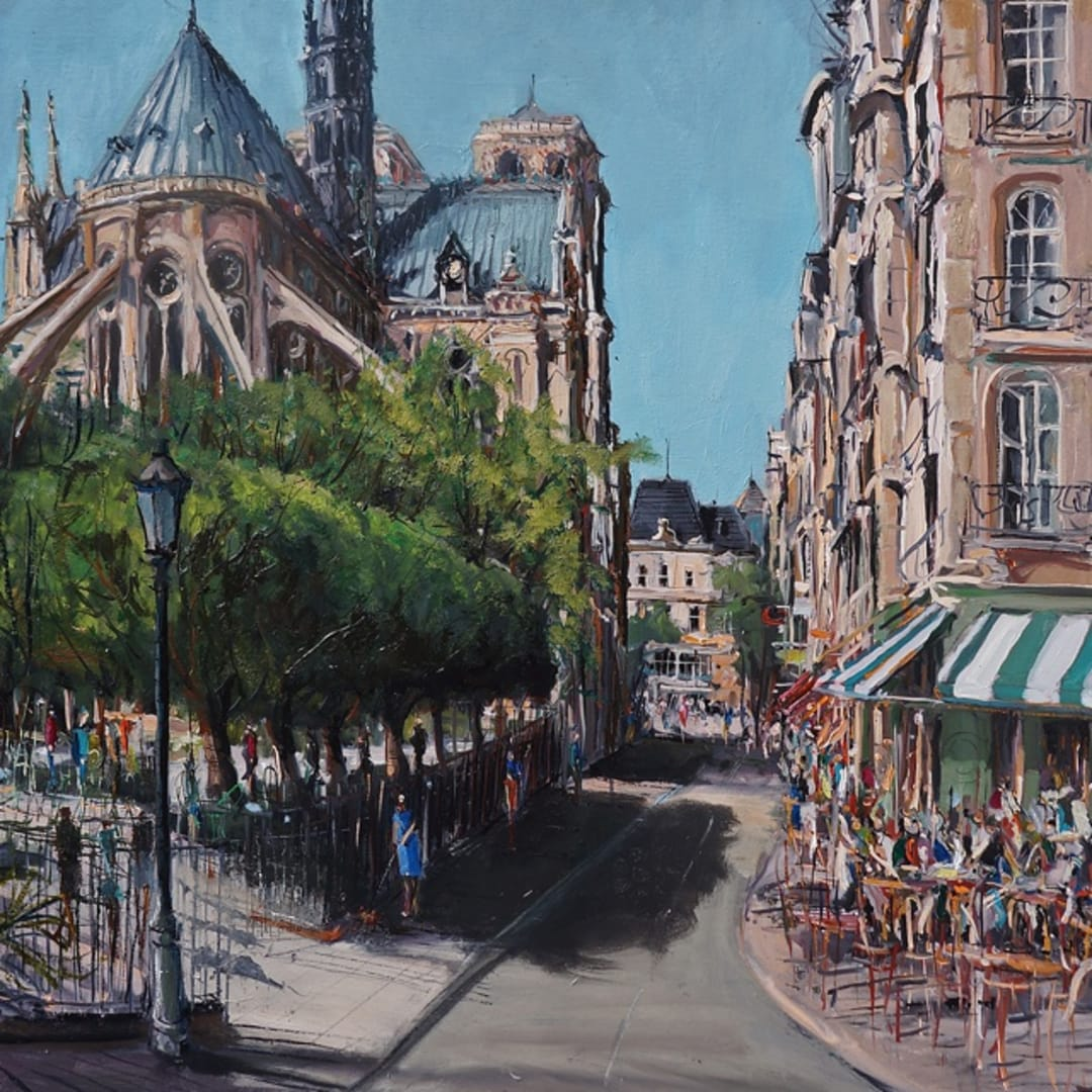'Parisian Life' plein air painting by Gerard Byrne, Paris