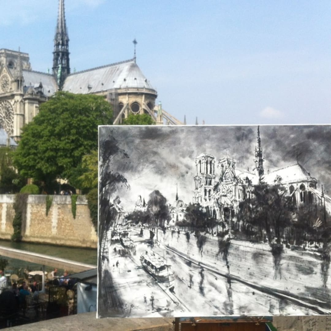 Notre Dame' plein air charcoal drawing by Gerard Byrne, Paris