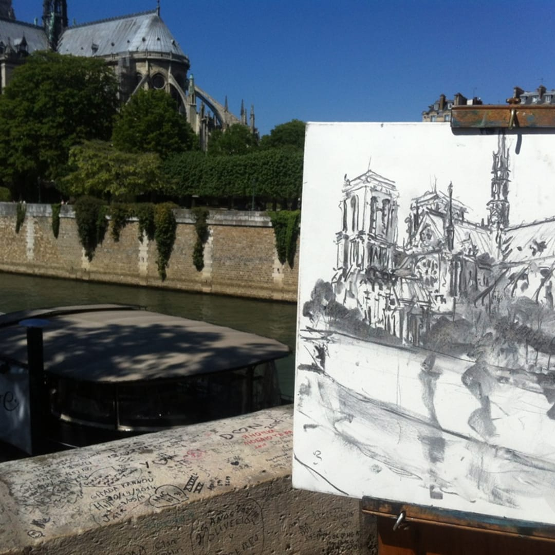 'The Cathedral' plein air charcoal drawing by Gerard Byrne, Paris
