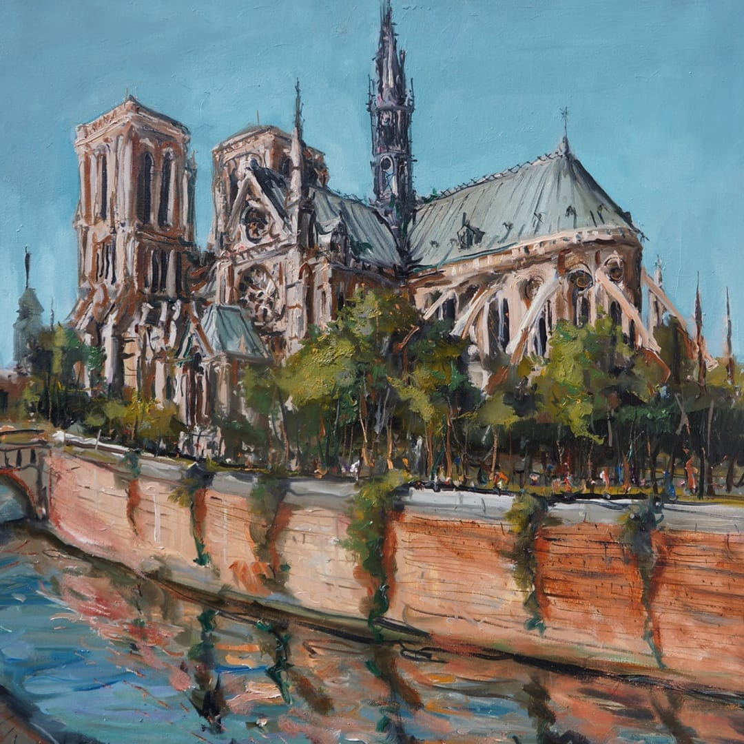 'The Cathedral' plein air painting by Gerard Byrne, Paris