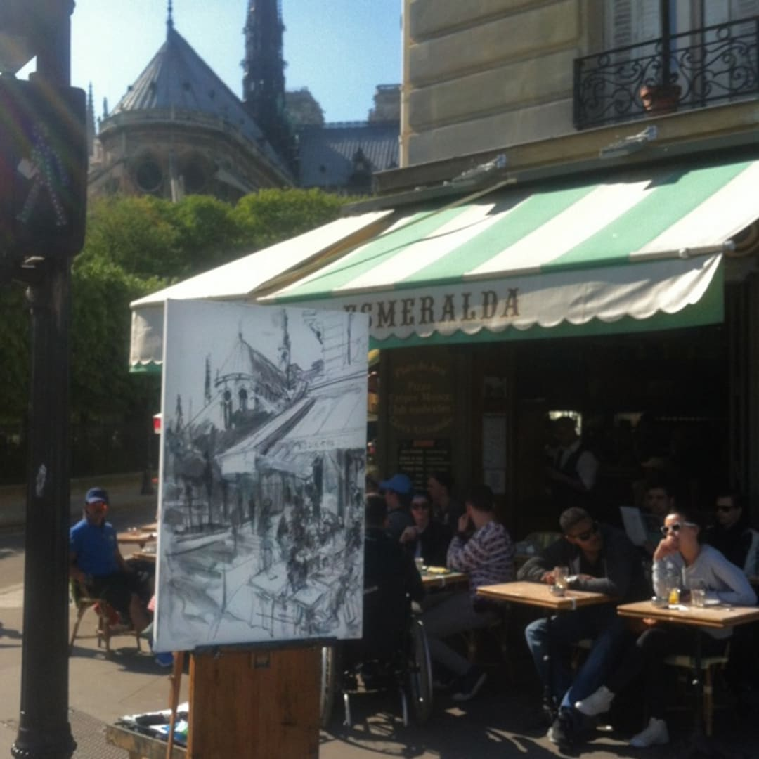'Esmeralda' plein air charcoal drawing by Gerard Byrne, Paris