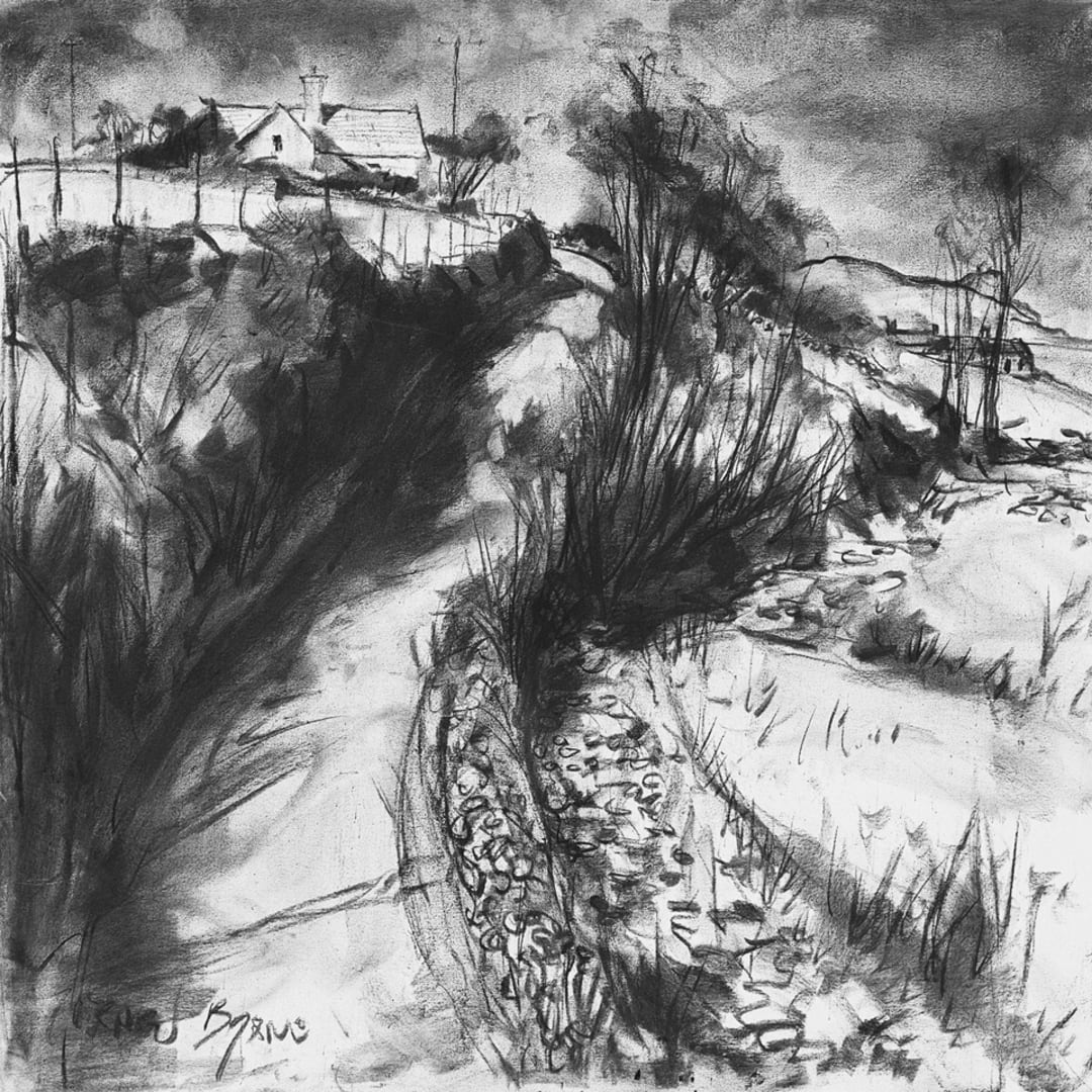 Country Road' plein air charcoal drawing by Gerard Byrne, Dingle