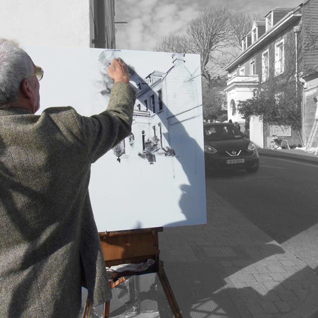 Gerard Byrne sketching plein air 'Dingle Town', Dingle